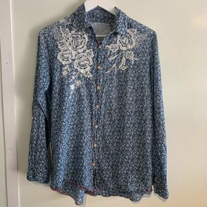 Johnny Was- Dragon Embroidered button down